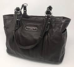 coach dark brown leather tote shoulder bag