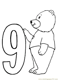 Small Picture Bear Number9 Coloring Page Free Numbers Coloring Pages