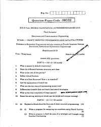 ec object oriented programming and data structures nov dec  ec6301 object oriented programming and data structures anna university question paper nov dec 2016