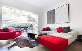 red and white couches pop