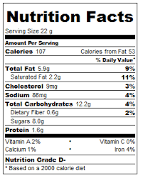 nutritional information per cookie enjoy
