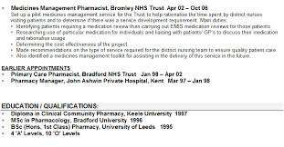 cv pharmacy pharmacist cv sample