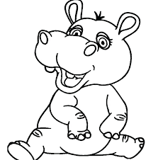 Hippo Coloring Page Hippopotamus Pages Sheets Printable Pixels App