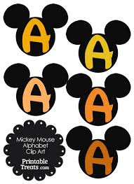 orange mickey mouse head letter a clipart