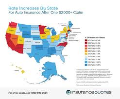 auto insurance rate increase after one claim by state map
