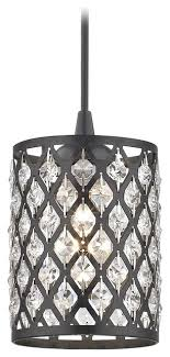 crystal matte black and phoenix cord hung mini pendant light