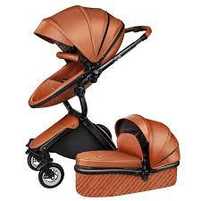 luxury 3 in 1 baby stroller brand baby pu leather pram eu safety car seat bassinet newborn aulongift