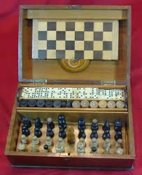 details about antique 1920 30 chess set and set of checkers and dominoes original wooden box