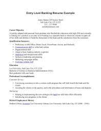 entry level banking resume