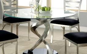 modern round frosted piece contemporary alluring chairs kitchen and dining table glass clio leather room top