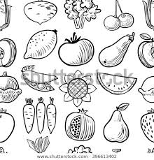 fruit and vegetables black and white. Cute Vector Black And White Fruits Vegetables Seamless Pattern Background In Doodle Style Fruit