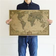 Large Vintage World Mapd Office Supplies Detaile Antique Poster Wall Chart Retro Paper Matte Kraft Paper 28 18inch Map Of World