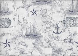 FABRIC-Navy Maritime Nautical Toile Fabric by the Yard-Quilt ... & + $3.75 shipping Adamdwight.com