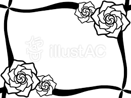 バラ フレーム モノクロイラスト No 145603無料イラストなら