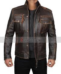 mens brown biker distressed leather jacket