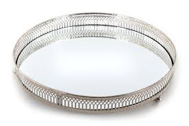 Decorative Metal Tray Mirror Glass Metal Antique Decorative Silver Candle Plate Display