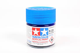 acrylic x 23 clear blue 23ml bottle
