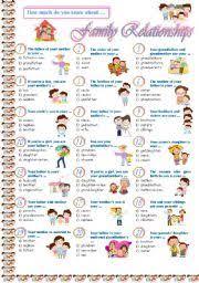 Family Relationships Worksheets