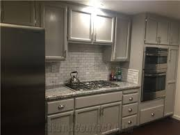 Granite With Backsplash Beauteous Monte Cristo Granite Marble Backsplash Tiles And Grey Cabinets