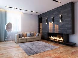 mid century modern fireplace with dark surround