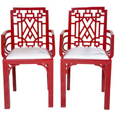 red lacquered furniture. Pair Of Red Lacquered Chippendale Style Chairs For Sale Furniture