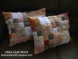 Free Pattern & Tutorial - Square Yo-Yo Quilted Pillow Case by Ulla & Click Image to Enlarge - Adamdwight.com