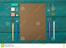 colorful office accessories. Delighful Office Download Blank Sheet Of Paper And Colorful Office Accessories Stock Image   Of Blue Throughout N