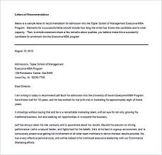 Re mendation Letter Example Word Free Download