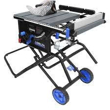 delta 15 amp 10 in left tilt portable jobsite table saw with rolling stand