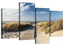 home canvas wall art of a beach for your living room set of four