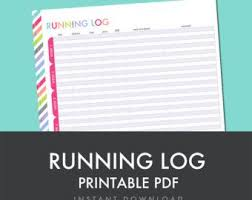 Running Log Printable Pdf Planner Printable Fitness Health