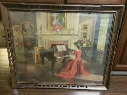vintage painting girl red dress playing piano m ditlef