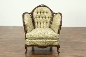 vintage chair. Brilliant Chair French Style Carved 1930u0027s Vintage Chair New Tufted Upholstery Inside Chair Harp Gallery