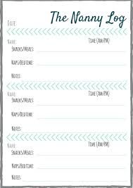 Nanny To Do List Template Nanny Daily Log Template Schedule Neerja Co