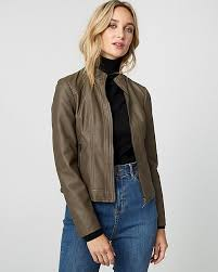 ruched leather like motorcycle jacket