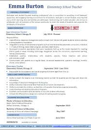 Elementary School Teacher Resume Examples 2017 Elementary Education