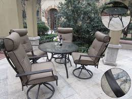 pebble lane living 5 piece outdoor dining set with cushioned swivel rocking chairs