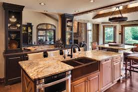oak kitchen cabinets with granite countertops. Kitchen, Dark Grey Parquete Flooring Circle Rattan Bar Stools With White Cushion Granite Countertop Oak Kitchen Cabinets Countertops