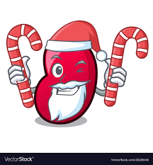 Santa With Candy Jelly Bean Mascot Cartoon