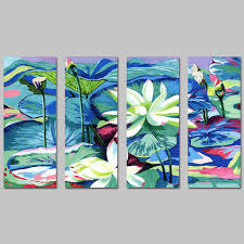 4 pcs big size impressionism white lotus leaf decoration wall art pictures canvas paintings for living on lotus leaf wall art with 4 pcs big size impressionism white lotus leaf decoration wall art