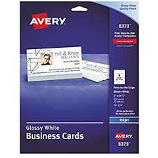 Avery 8373 Print To The Edge Microperf Business Cards Inkjet 2x3 1 2 White Gloss Box Of 200
