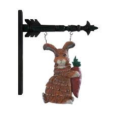 rabbit bunny holding carrot arrow replacement sign bracket k k interiors 20284a easter spring