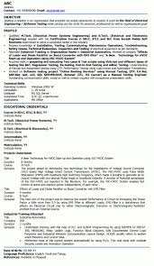Resume Samples For Freshers Eee Engineers Listmachinepro Com