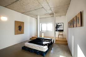 interior design furniture minimalism industrial design. View In Gallery Rough Concrete Ceilings, Walls And Beams Add Industrial Charm To The Minimal Bedroom Interior Design Furniture Minimalism E