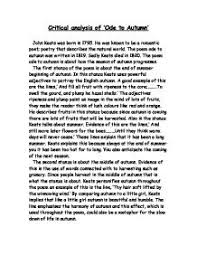 critical analysis of ode to autumn gcse english marked by page 1 zoom in