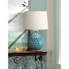 teal blue glass mosaic jar table lamp jars table lamps
