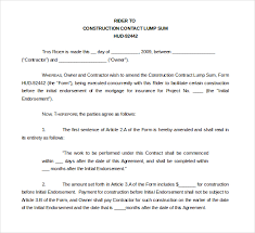 with material construction agreement fixed sum loan agreement template 10 sample construction contract