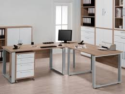white desk office. Harmony Large Corner Office Desk In Sonoma Oak Finish With Silver Metal Feet By Maja White E