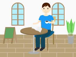 カフェで読書をする男性と女性の無料イラスト Aiepspng カフィネット