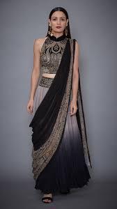 Designer Stitched Saree Grey Black Pre Stitched Saree